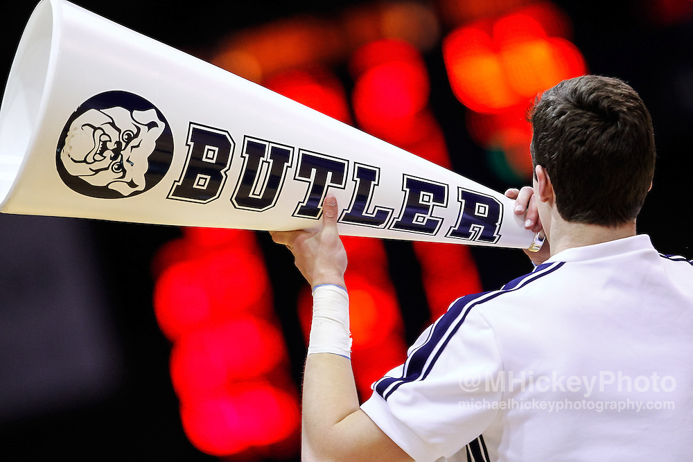 INDIANAPOLIS, IN - JANUARY 19: A Butler Bulldogs cheerleader is seen during the game against the Gonzaga Bulldogs at Hinkle Fieldhouse on January 19, 2013 in Indianapolis, Indiana. Butler defeated Gonzaga 64-63. (Photo by Michael Hickey/Getty Images)