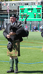 May 5, 2013; Bronx, NY; USA; A bagpiper plays before the start of the game match between New York and Leitrim at Gaelic Park.