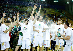 Saso Ozbolt, Damjan Rudez, Vladimir Golubovic, Miha Zupan and Aleksej Nesovic (with champaign) Union Olimpija celebrates at third finals basketball match of Slovenian Men UPC League between KK Union Olimpija and KK Helios Domzale, on June 2, 2009, in Arena Tivoli, Ljubljana, Slovenia. Union Olimpija won 69:58 and became Slovenian National Champion for the season 2008/2009. (Photo by Vid Ponikvar / Sportida)