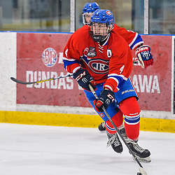 OAKVILLE, ON  - FEB 23,  2018: Ontario Junior Hockey League game between the Oakville Blades and the Toronto Jr. Canadiens, Brayden Sampson #4 of the Toronto Jr. Canadiens looks up ice with the puck during the third period.<br /> (Photo by Ryan McCullough / OJHL Images)