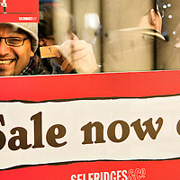 London December 26 A happy bargain hunter shows his n1 queue ticket at Selfridges on Oxford Street. More than 50,000 people will pass through the doors at Selfridges and the store expect to take in excess of £1M per hour at peak time on the first day of this year Sales...***Agreed Fee's Apply To All Image Use***.Marco Secchi /Xianpix. tel +44 (0) 771 7298571. e-mail ms@msecchi.com .www.marcosecchi.com