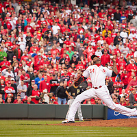April 6, 2015:   Cincinnati Reds pitcher Aroldis Chapman gets the save during the Reds' 5-2 Opening Day victory over the Pittsburgh Pirates at Great American Ballpark in Cincinnati, OH.