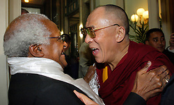 The Dalai Lama, Nobel Peace Prize Winner in 1989 (right) and Bishop Desmond Tutu, Nobel Peace Prize Winner in 1984, meet during the Dalai Lama's five-day visit to Belgium, on Thursday, June 1, 2006, in Brussels. (Photo © Jock Fistick)