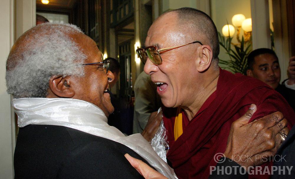 The Dalai Lama, Nobel Peace Prize Winner in 1989 (right) and Bishop Desmond Tutu, Nobel Peace Prize Winner in 1984, meet during the Dalai Lama's five-day visit to Belgium, on Thursday, June 1, 2006, in Brussels. (Photo © Jock Fistick)