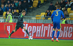 KIEV, UKRAINE - Easter Monday, March 28, 2016: Wales' Emyr Huws in action against Ukraine during the International Friendly match at the NSK Olimpiyskyi Stadium. (Pic by David Rawcliffe/Propaganda)