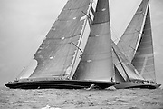 Velsheda, Hanuman, and Ranger sailing in the St. Barth's Bucket J Class Race.