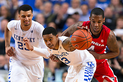 Kentucky guard Tyler Ulis, center, grabs a loose ball and leads a fast break in the second half.<br /> <br /> The University of Kentucky hosted the University of Georgia, Tuesday, Feb. 09, 2016 at Rupp Arena in Lexington .