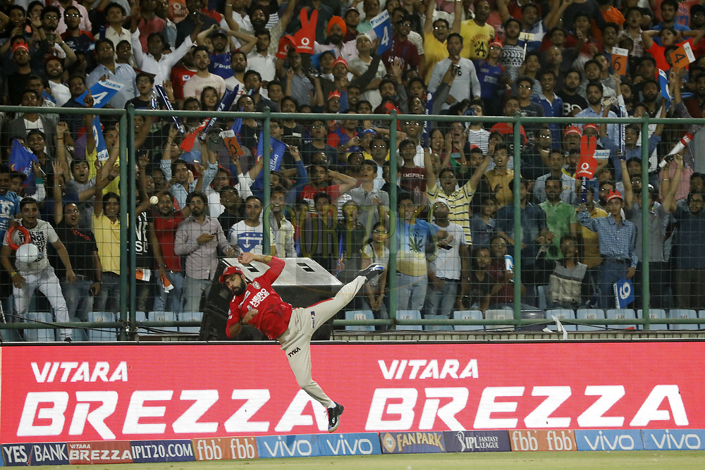 Manan Vohra of Kings XI Punjab jumps to take a catch during match 15 of the Vivo 2017 Indian Premier League between the Delhi Daredevils  and the Kings XI Punjab held at the Feroz Shah Kotla Stadium in Delhi, India on the 15th April 2017<br /> <br /> Photo by Arjun Singh - Sportzpics - IPL