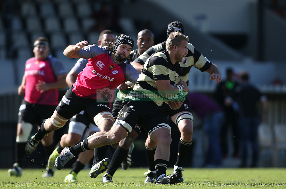 Jacques Engelbrecht of Boland gets past Hugo Kloppers of the Pumas during the Currie Cup premier division match between the Boland Cavaliers and The Pumas held at Boland Stadium, Wellington, South Africa on the 2nd September 2016<br /> <br /> Photo by:   Shaun Roy/ Real Time Images