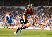 Tom Barkhuizen celebrates his opening goal during the Sky Bet League 2 match between Portsmouth and Morecambe at Fratton Park, Portsmouth, England on 22 August 2015. Photo by David Charbit.