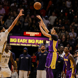 Mar 22, 2018; New Orleans, LA, USA; Los Angeles Lakers guard Lonzo Ball (2) misses on a shot over New Orleans Pelicans forward Anthony Davis (23) during the fourth quarter at the Smoothie King Center. The Pelicans defeated the Lakers 128-125. Mandatory Credit: Derick E. Hingle-USA TODAY Sports