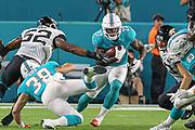 Aug 22, 2019; Miami Gardens, FL USA;  Miami Dolphins running back Kalen Ballage (27) runs for yardage during an NFL preseason game at Hard Rock Stadium. The Dolphins beat the Jaguars 22-7. (Kim Hukari/Image of Sport)