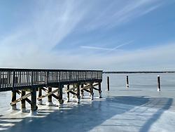 frozen bay in Westhampton, New York