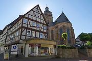 Kirche, Altstadt, Fachwerk, Bad Wildungen, Nordhessen, Hessen, Deutschland | church, old town, Bad Wildungen, Hesse, Germany