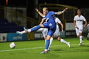AFC Wimbledon midfielder Mitchell (Mitch) Pinnock (11) with a volley on goal during the EFL Trophy group stage match between AFC Wimbledon and U21 Swansea City at the Cherry Red Records Stadium, Kingston, England on 18 September 2018.