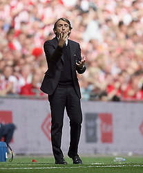 14.05.2011, Wemblay Stadium, ENG, FA CUP FINALE, Manchester City vs Stoke City im Bild Manchester City's Manager Roberto Mancini   during   the 130th  FA Cup Final  between Manchester City and Stoke City at Wembley Stadium in London    on 14/05/2011, EXPA Pictures © 2011, PhotoCredit: EXPA/ IPS/ M. Pozzetti *** ATTENTION *** UK AND FRANCE OUT!