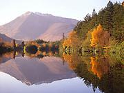 Autumn reflections of Ben Vair, Lochan Trail, Glencoe, west Highlands