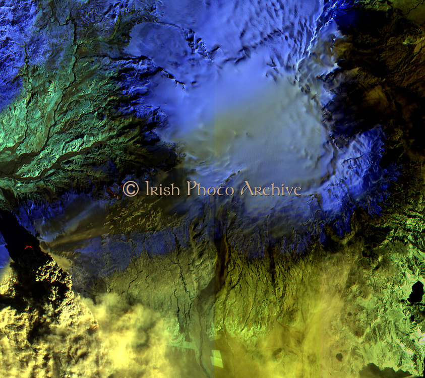 On Sat., April 17, 2010, the Advanced Land Imager (ALI) instrument on-board NASA's Earth Observing-1 (EO-1) spacecraft obtained this false-colour infrared image of Iceland's Eyjafjallajökull volcano from an altitude of 705 kilometres (438 miles). A strong thermal source (denoted in red) is visible at the base of the Eyjafjallajökull plume. Above and to the right, strong thermal emission is also seen from the lava flows located at Fimmvorduhals between March 20 and April 13, 2010. This is where lava first reached the surface, generating impressive lava fountains and lava flows. As the Fimmvorduhals episode was in a location with no ice cap, there was little of the violent interaction between lava and water that took place at Eyjafjallajökull and that generated the massive volcanic plume. To the east of Fimmvorduhals is the Myrdalsjökull ice cap, beneath which slumbers the mighty Katla volcano. Katla has erupted 20 times in recorded history, with the last eruption occurring in 1918. This ALI image is 38 kilometres (24 miles) wide, and has a resolution of 30 meters (98 feet) per pixel. Up is north-northeast.