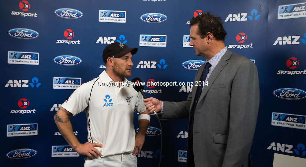 Man of the Match, Brendon McCullum. Day 4, ANZ Boxing Day Cricket Test, New Zealand Black Caps v Sri Lanka, 29 December 2014, Hagley Oval, Christchurch, New Zealand. Photo: John Cowpland / www.photosport.co.nz