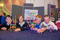 Mark Feehan, Louise Corcoran, Stephen Coughlan and Darragh Mills from Clonfert National School who took part in the  Medtronic Knex Challenge at the Radisson blu Hotel.  Medtronic KNEX Challenge is for  primary school children completing  exceptional tasks which will be judged on the level of engineering, innovation and communication displayed by the teams.. .The final event of the week is the Medtronic  Junior FIRST LEGO League challenge on THURSDAY. This is the second year The Galway Education Centre has hosted this competition - one of only six countries in the world who do so. Following the success of last year, over 500 school children from all over the country are expected to come along and practice their robotics, presentation and teamwork skills live on the night!. .Bernard Kirk, Director of The Galway Education Centre says; ?Working on this three day event every year is fun and exciting and always surprising. The talent, instinct and drive we discover in these young children is an inspiration to all of us. We look forward to the continued success of all of our challenges which would not be possible without the support of companies like Medtronic, SAP, HP and LEGO?.. .All of these events are open to the public and free admission. They will also be streamed live on line at www.galwayeducationcentre.ie. Photo:Andrew Downes.
