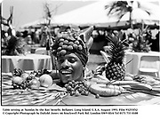 Table setting at 'Sunday by the Bay' benefit. Bellport. Long Island. U.S.A. August 1993. Film 93253f32<br />© Copyright Photograph by Dafydd Jones<br />66 Stockwell Park Rd. London SW9 0DA<br />Tel 0171 733 0108