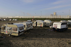October 27, 2016 - Calais, Nord-Pas-de-Calais-Picardie, France - Caravans have been pulled out of the Jungle. The 4th day of the eviction of the jungle in Calais saw the continue demolition of the huts in the Jungle, as well as the first arrests of people who didn'Äôt leave and some minor clashes with activists opposed to the eviction. (Credit Image: © Michael Debets/Pacific Press via ZUMA Wire)