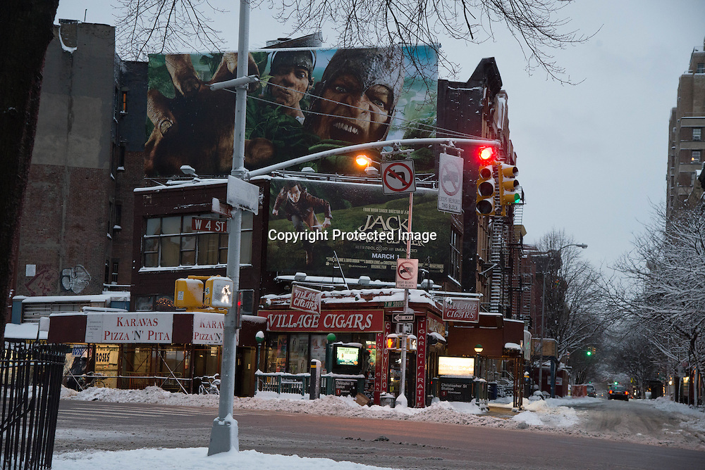 New York, west village,  W4 and christopher street under the snow