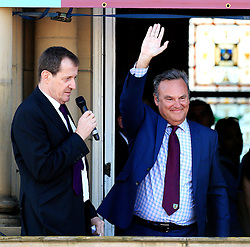 Burnley chairman Mike Garlick greets the crowd - Mandatory by-line: Matt McNulty/JMP - 09/05/2016 - FOOTBALL - Burnley Town Hall - Burnley, England - Burnley FC Championship Trophy Presentation