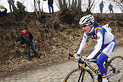 Belgium, March 31 2013: Eventual winner, Marianne Vos, RABO WOMEN CYCLING TEAM on the Oude-Kwaremont climb in the women's Ronde van Vlaandaren 2013 race. Copyright 2013 Peter Horrell.