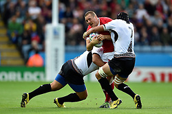 Nick Blevins of Canada is double-tackled - Mandatory byline: Patrick Khachfe/JMP - 07966 386802 - 06/10/2015 - RUGBY UNION - Leicester City Stadium - Leicester, England - Canada v Romania - Rugby World Cup 2015 Pool D.