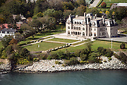 Ochre Court, Ocean Drive Newport mansion aerial photo.