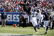 Houston Texans wide receiver Braxton Miller (13) jumps and catches a 7 yard second quarter touchdown pass that ties the score at 14-14 while covered by Los Angeles Rams cornerback Taurean Nixon (31) and Los Angeles Rams cornerback Troy Hill (32) during the 2018 NFL preseason week 3 football game against the Los Angeles Rams on Saturday, Aug. 25, 2018 in Los Angeles. The Rams won the game 21-20. (©Paul Anthony Spinelli)