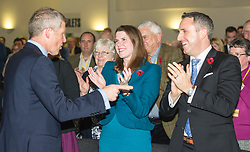 Pictured: Scottish Liberal Democrat leader Willie Rennie is congratulated by Jo Swinton and Alex Col-Hamilton on his speech<br /> The Scottish Liberal Democrats stalwarts gathered today in Dunfermline for their Autumn Conference<br /> <br /> Ger Harley | EEm 11 November 2017