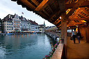 Interior of the Chapel Bridge (Kapellbrücke) in Lucerne, Switzerland.