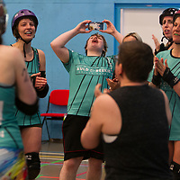 Sheffield Steel Roller Derby take on Auld Reekie Roller Derby in the British ChampsTier 1 Women's North competition at the University of Salford Sports Centre, Salford, UK 2019-07-06