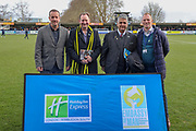 Sponsors during the EFL Sky Bet League 1 match between AFC Wimbledon and Burton Albion at the Cherry Red Records Stadium, Kingston, England on 9 February 2019.