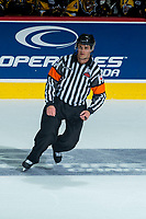 REGINA, SK - MAY 22:  Referee Steve Papp at Brandt Centre - Evraz Place on May 22, 2018 in Regina, Canada. (Photo by Marissa Baecker/Getty Images)
