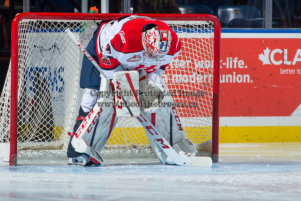 KELOWNA, CANADA - NOVEMBER 17: Stuart Skinner #74 of the Lethbridge Hurricanes stands in net against the Kelowna Rockets on November 17, 2017 at Prospera Place in Kelowna, British Columbia, Canada.  (Photo by Marissa Baecker/Shoot the Breeze)  *** Local Caption ***