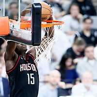01 May 2017: Houston Rockets center Clint Capela (15) dunks the ball during the Houston Rockets 126-99 victory over the San Antonio Spurs, in game 1 of the Western Conference Semi Finals, at the AT&T Center, San Antonio, Texas, USA.