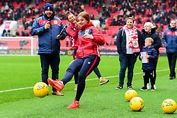 Bristol City Women players Sophie Baggaley and Ella Rutherford take part in the Half time Dunder Challenge - Mandatory by-line: Ryan Hiscott/JMP - 27/10/2018 - FOOTBALL - Ashton Gate Stadium - Bristol, England - Bristol City v Stoke City - Sky Bet Championship
