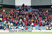 The Aberdeen fans have arrived for the Ladbrokes Scottish Premiership match between Rangers and Aberdeen at Ibrox, Glasgow, Scotland on 27 April 2019.