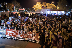 October 10, 2018 - Ankara, Turkey - Hunderds of people gathered in Ankara, Turkey, on 10  October 2018, to commemorate and mourn for those who were killed, and to protest the neglicance of the government for security and justice. 3 years ago on the 10th of October, 103 people have been killed in a bomb attack made by ISIS during a meeting for peace and equality in the Turkish capital, Ankara. (Credit Image: © Erhan Demirtas/NurPhoto via ZUMA Press)