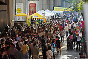 Sunday pedestrian zone with shops, shows etc. at Silom Road.