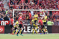 February 12, 2017: Western Sydney Wanderers miss a great chance at goal at Round 19 of the 2017 Hyundai A-League match, between Western Sydney Wanderers and Central Coast Mariners played at Spotless Stadium in Sydney.