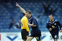 Fotball, 13. mai 2003, NM fotball herrer, Strømsgodset-Bærum,  Lasse Olsen, Strømsgodset, jubler etter scoring