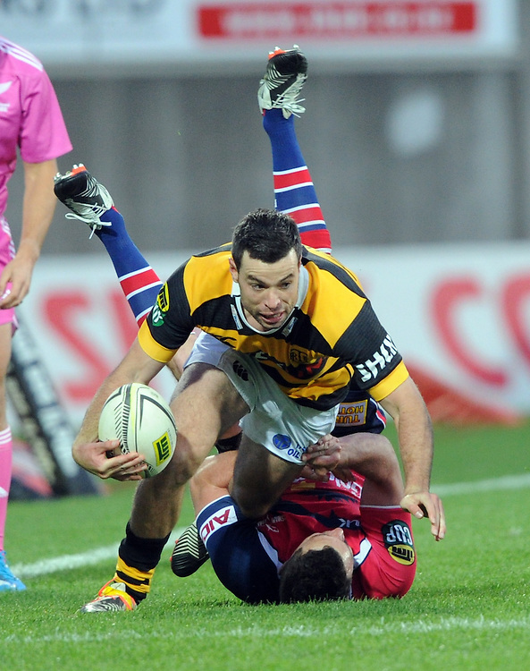 Taranaki's James Marshall runs over the top of Tasman Makos Tom Marshall in the ITM Cup Rugby Premiership final match at Yarrow Stadium, New Plymouth, New Zealand, Saturday, October 25, 2014. Credit:SNPA / Ross Setford