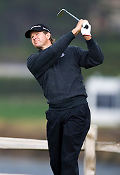 February 12, 2010; Pebble Beach, CA, USA; Retief Goosen tees off on the seventh hole during the second round of the AT&T Pebble Beach Pro-Am at Pebble Beach Golf Links.