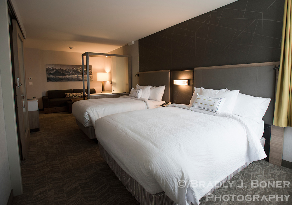 Room with double queen beds in the new SpringHill Suites by Marriott hotel in downtown Jackson.