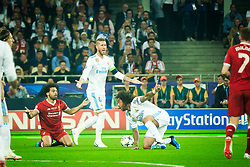 Mohamed Salah of Liverpool , Sergio Ramos of Real Madrid and Marcelo of Real Madrid during the UEFA Champions League final football match between Liverpool and Real Madrid at the Olympic Stadium in Kiev, Ukraine on May 26, 2018.Photo by Sandi Fiser / Sportida
