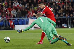 BASEL, Oct. 8, 2017  Switzerland's Granit Xhaka shoots and scores past Hungary's goalkeeper Peter Gulacsi during the FIFA World Cup 2018 Qualifiers Group B match between Switzerland and Hungary in Basel, Switzerland, Oct. 7, 2017. Switzerland won 5-2. (Credit Image: © Ruben Sprich/Xinhua via ZUMA Wire)